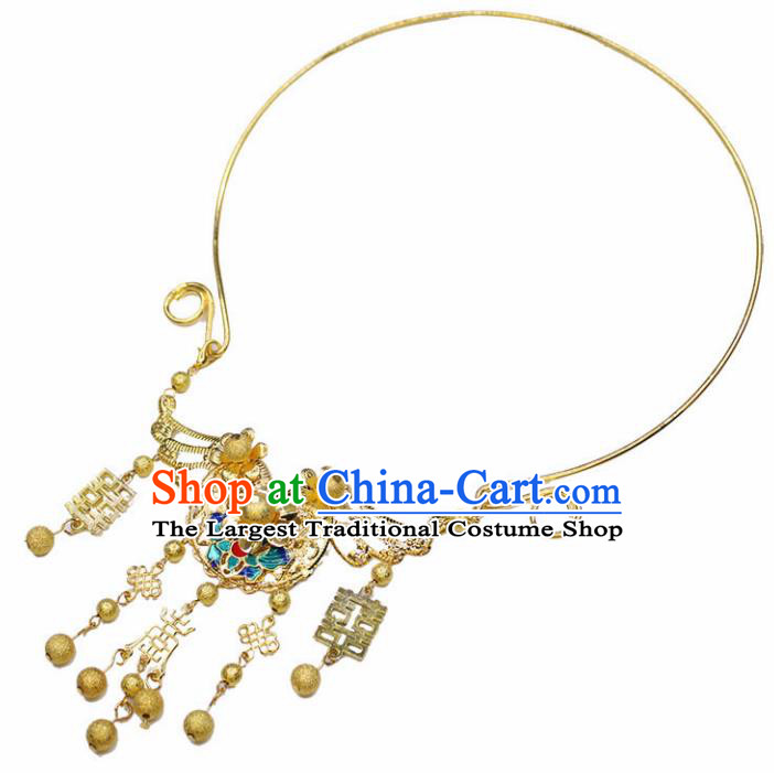 Chinese Ancient Wedding Jewelry Accessories Traditional Classical Hanfu Tassel Necklace for Women