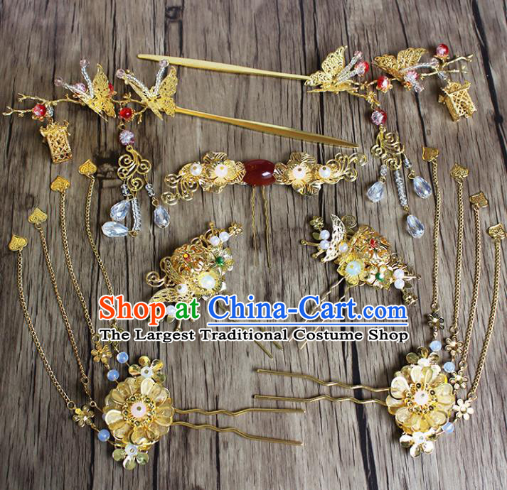 Chinese Ancient Bride Wedding Hair Accessories Traditional Classical Agate Hair Clip Tassel Hairpins for Women