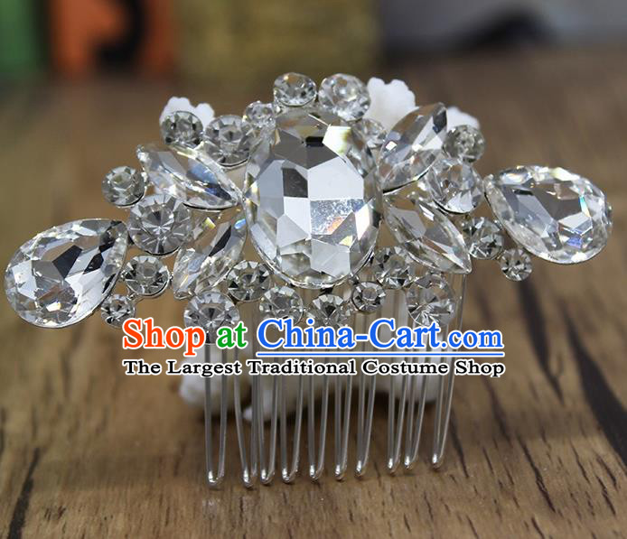 Top Grade Handmade Hair Accessories Bride Classical Crystal Hair Comb for Women