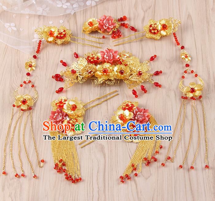 Chinese Ancient Bride Wedding Hair Accessories Traditional Hair Comb Tassel Hairpins for Women