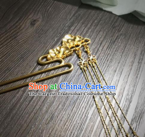 Chinese Ancient Princess Hair Accessories Traditional Golden Cloud Tassel Hairpins for Women