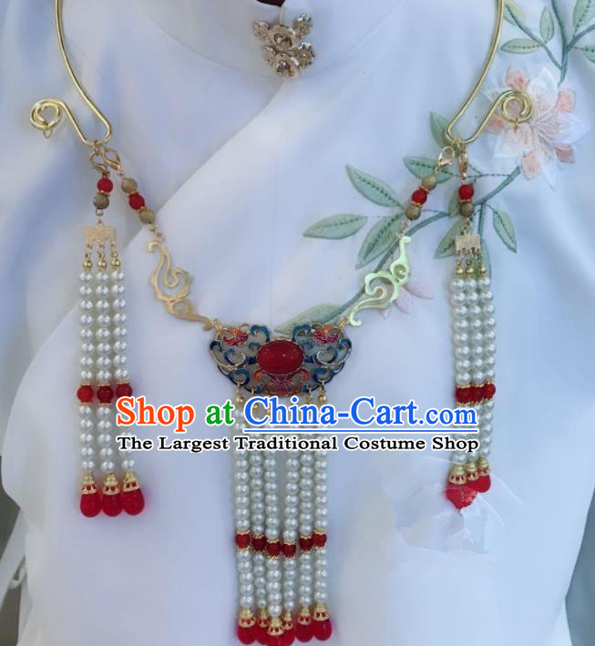 Chinese Ancient Jewelry Accessories Traditional Classical Hanfu Agate Blueing Necklace for Women