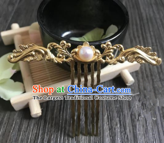 Chinese Ancient Princess Hair Accessories Traditional Golden Hair Comb Hairpins for Women