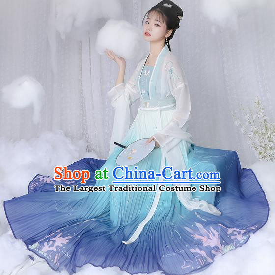 Chinese Ancient Peri Hanfu Dress Traditional Tang Dynasty Princess Historical Costume for Women