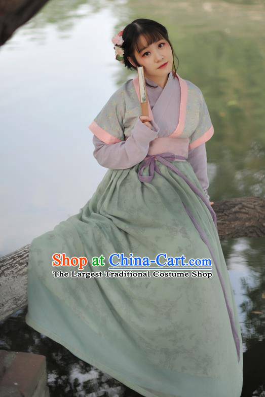 Chinese Ancient Maidservants Green Hanfu Dress Song Dynasty Young Lady Historical Costume Complete Set for Women