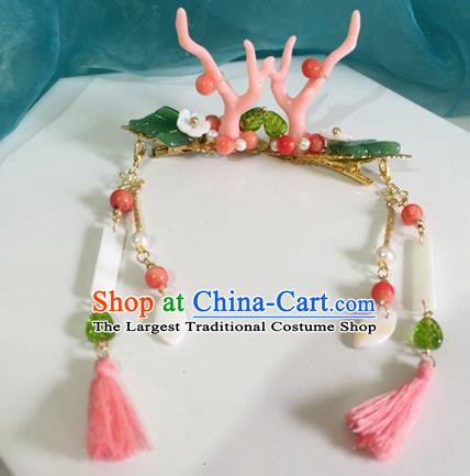 Chinese Ancient Hanfu Hair Accessories Traditional Pink Dragon Horn Hair Claws Hairpins for Women