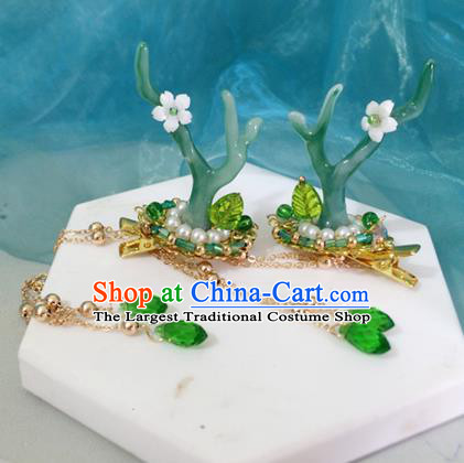 Chinese Ancient Hanfu Tassel Hair Accessories Traditional Green Dragon Horn Hair Claws Hairpins for Women