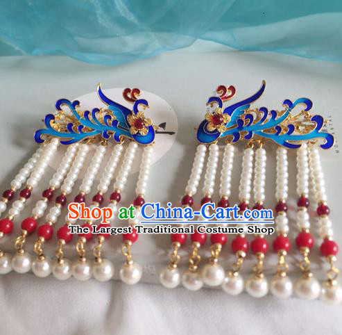 Chinese Ancient Hanfu Hair Accessories Traditional Blueing Phoenix Pearls Tassel Hair Claws Hairpins for Women