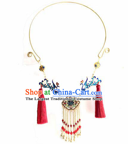 Chinese Ancient Hanfu Jewelry Accessories Traditional Blueing Phoenix Necklace for Women