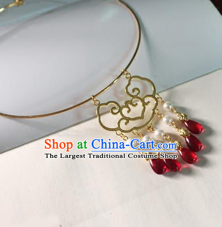 Chinese Ancient Hanfu Jewelry Accessories Traditional Red Crystal Tassel Necklace for Women