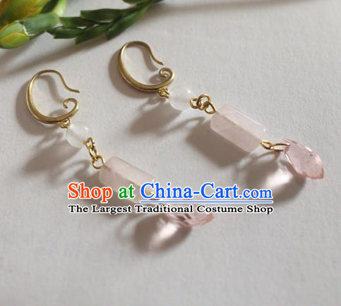 Chinese Ancient Hanfu Jewelry Accessories Traditional Rose Chalcedony Earrings for Women