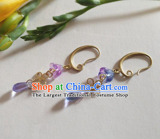 Chinese Ancient Hanfu Jewelry Accessories Traditional Purple Earrings for Women