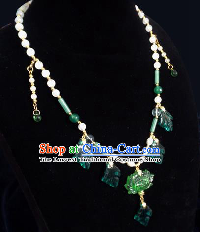 Chinese Ancient Hanfu Jewelry Accessories Traditional Tassel Green Lotus Necklace for Women