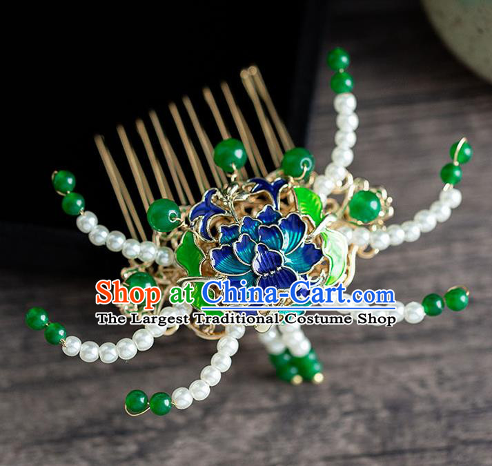 Chinese Ancient Hanfu Hair Accessories Traditional Wedding Blueing Lotus Pearls Hair Comb Hairpins for Women