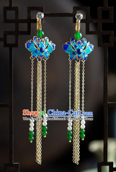 Chinese Ancient Hanfu Jewelry Accessories Traditional Wedding Tassel Blueing Earrings for Women