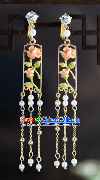 Chinese Ancient Hanfu Jewelry Accessories Traditional Wedding Pink Flowers Earrings for Women