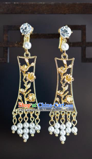 Chinese Ancient Hanfu Jewelry Accessories Traditional Wedding Golden Plum Blossom Earrings for Women