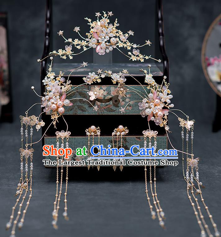 Chinese Ancient Hanfu Wedding Hair Accessories Traditional Bride Tassel Hairpins Hair Comb for Women