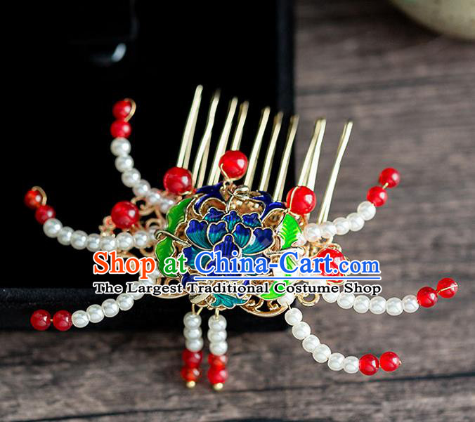 Chinese Ancient Hanfu Hair Accessories Traditional Wedding Pearls Crab Hair Comb Hairpins for Women