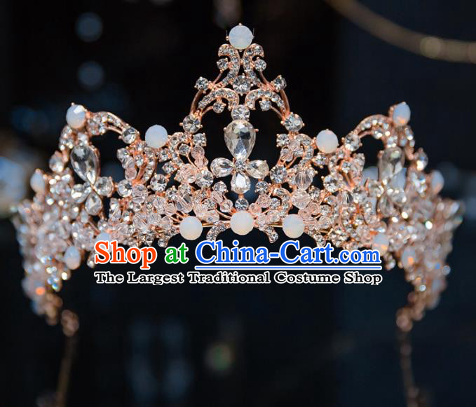 Handmade Baroque Hair Accessories Princess Wedding Champagne Crystal Royal Crown for Women