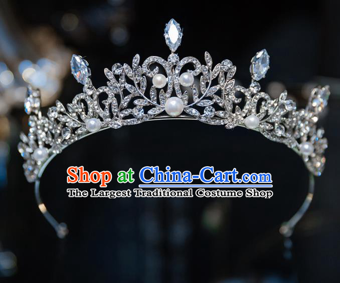 Handmade Baroque Hair Accessories Princess Wedding Pearls Crystal Royal Crown for Women