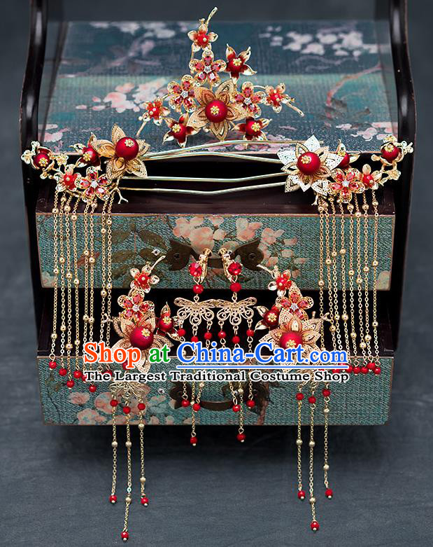Chinese Ancient Wedding Hair Accessories Traditional Hanfu Tassel Hairpins Palace Hair Comb for Women