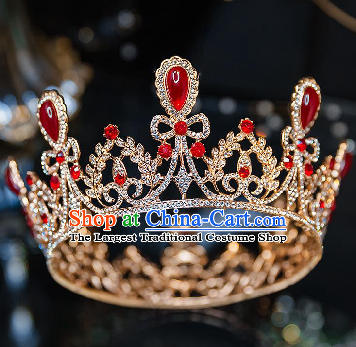 Handmade Wedding Bride Hair Accessories Baroque Red Crystal Royal Crown for Women