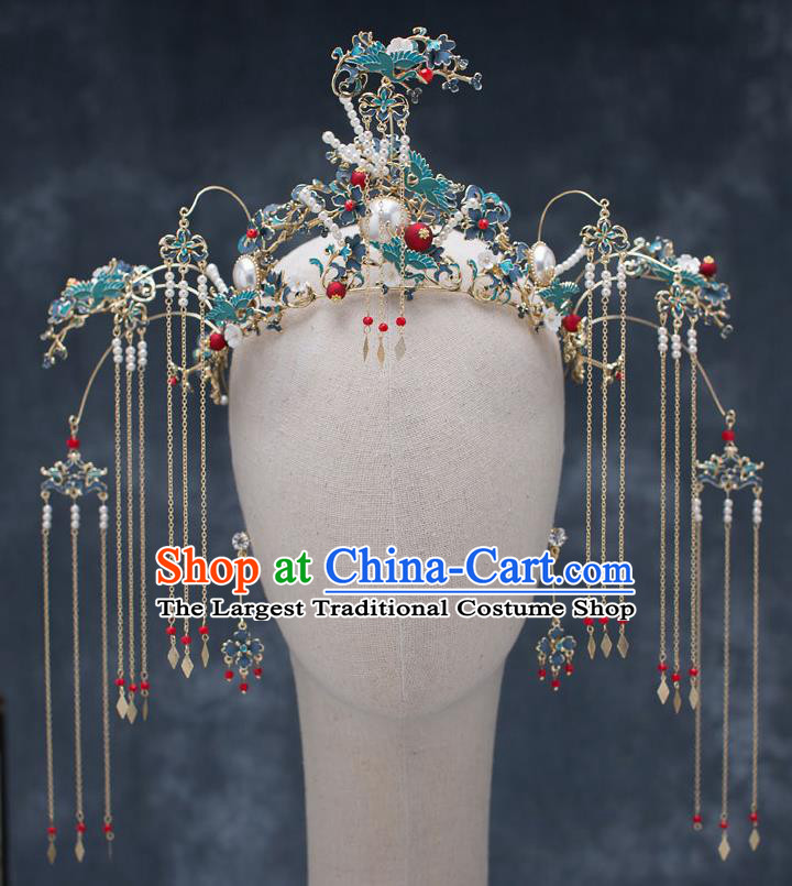 Chinese Ancient Wedding Blueing Cranes Phoenix Coronet Traditional Bride Palace Hair Accessories for Women