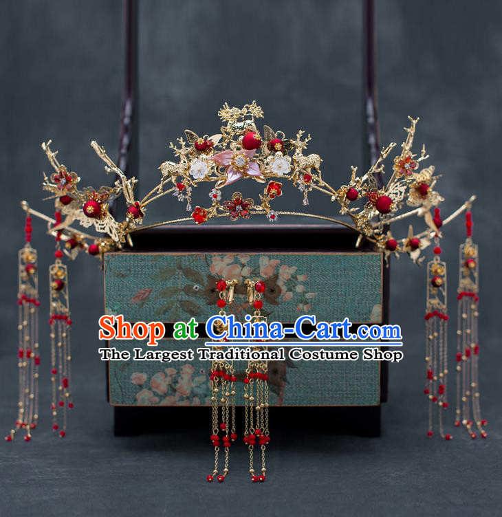 Chinese Ancient Wedding Tassel Phoenix Coronet Traditional Bride Palace Hair Accessories for Women
