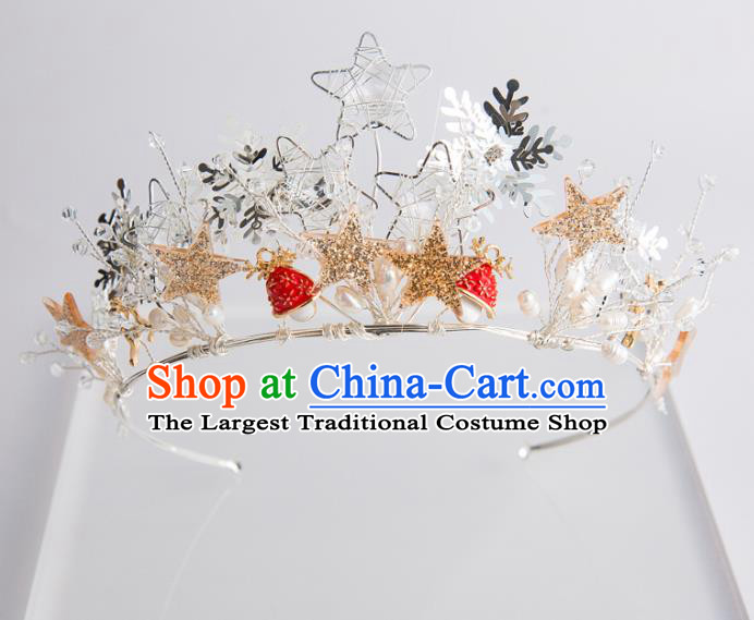 Handmade Wedding Bride Hair Accessories Baroque Golden Stars Royal Crown for Women
