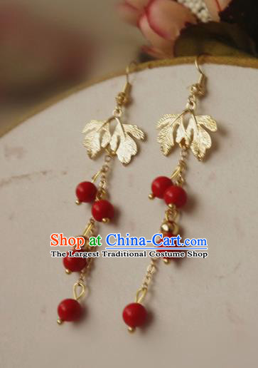 Chinese Ancient Hanfu Jewelry Accessories Traditional Wedding Red Beads Tassel Earrings for Women