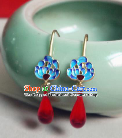 Chinese Ancient Hanfu Jewelry Accessories Traditional Wedding Blueing Lotus Agate Earrings for Women