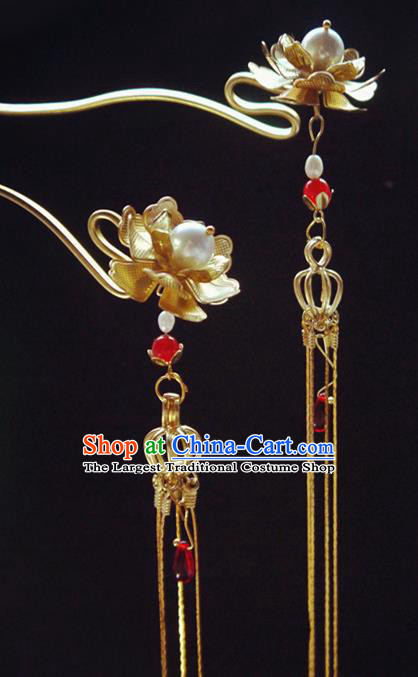 Chinese Ancient Hair Accessories Tassel Step Shake Traditional Bride Hanfu Lotus Hairpins for Women