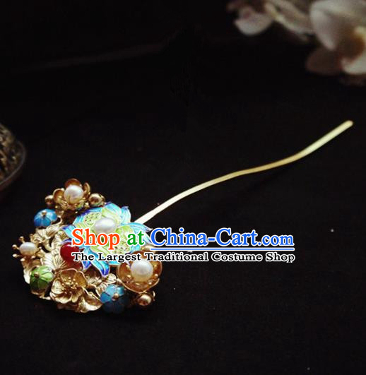 Chinese Ancient Hair Accessories Blueing Peony Pearls Hair Clip Traditional Bride Hanfu Hairpins for Women
