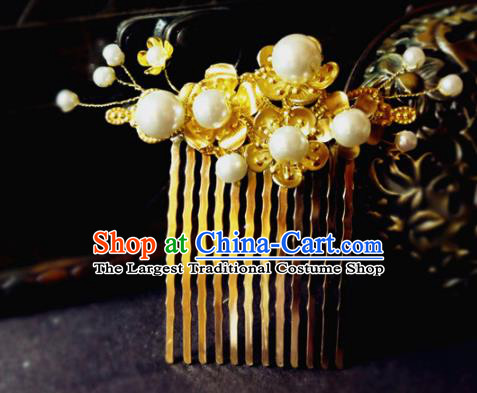 Chinese Ancient Hair Accessories Classical Golden Hair Comb Traditional Palace Hanfu Hairpins for Women