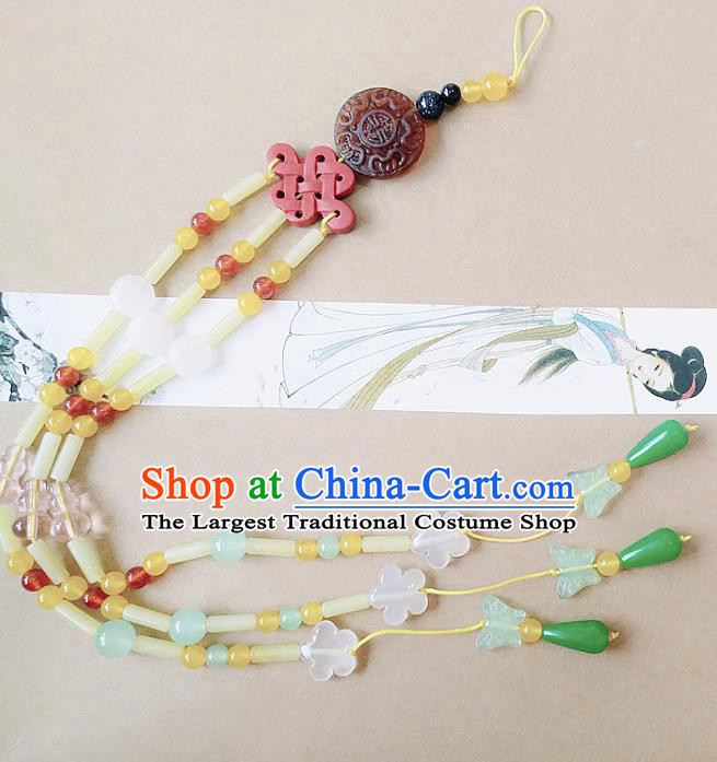 Chinese Ancient Bride Hanfu Jewelry Accessories Tassel Pendant Traditional Palace Jade Brooch for Women