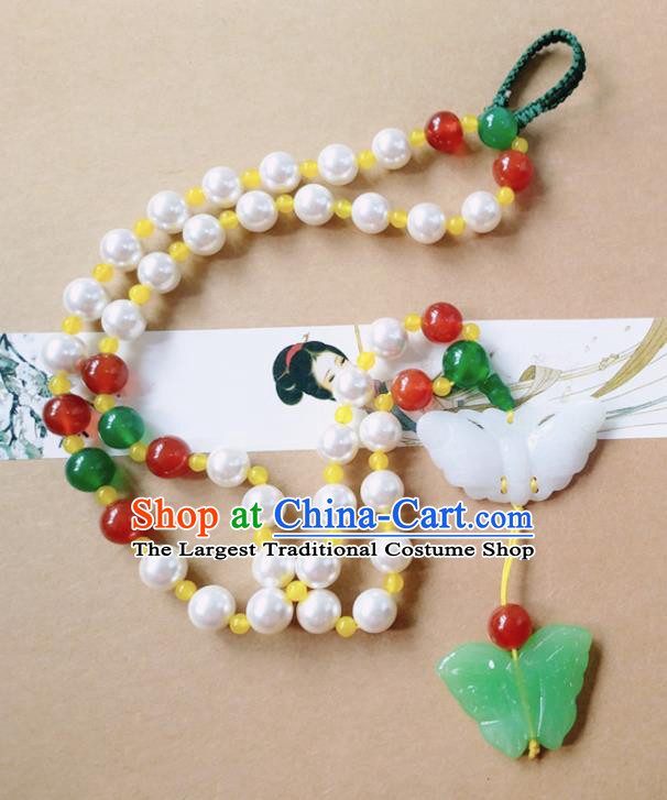 Chinese Ancient Bride Hanfu Jewelry Accessories Tassel Pendant Traditional Palace Jade Butterfly Brooch for Women