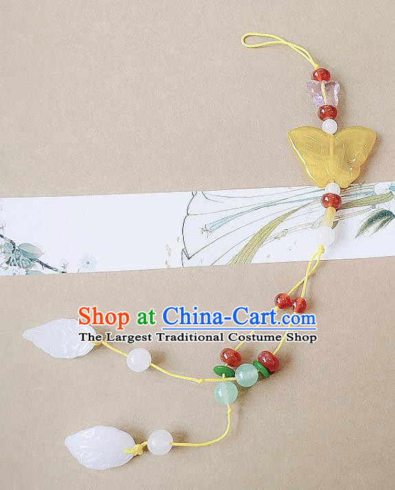 Chinese Ancient Bride Hanfu Jewelry Accessories Traditional Palace Butterfly Tassel Pendant Brooch for Women