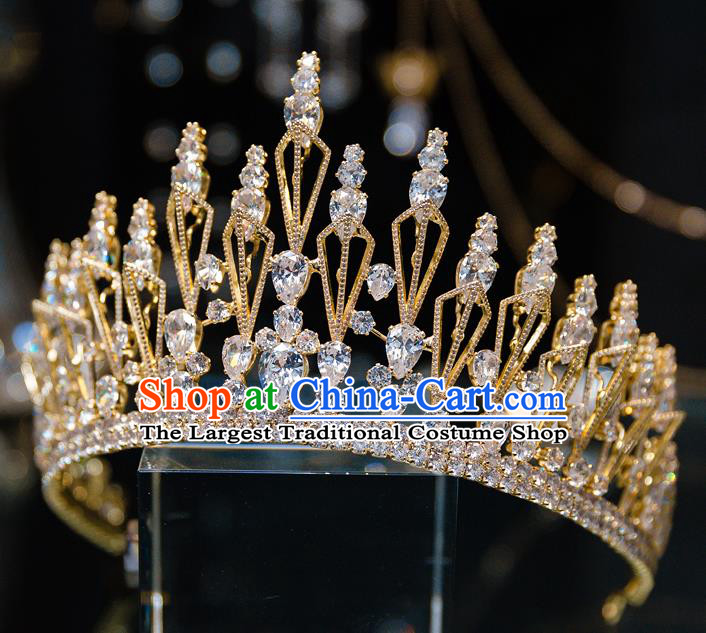 Handmade Wedding Bride Hair Accessories Baroque Luxury Zircon Golden Royal Crown for Women