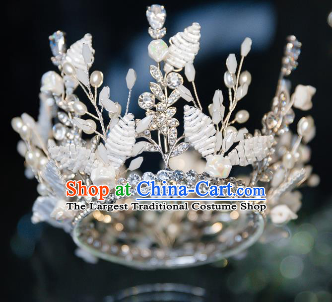 Handmade Wedding Bride Hair Accessories Baroque Crystal Beads Royal Crown for Women