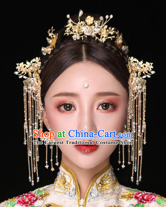 Chinese Ancient Bride Hair Accessories Traditional Wedding Tassel Hair Clip Hanfu Hairpins for Women