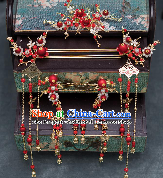 Chinese Ancient Bride Hair Accessories Traditional Wedding Hanfu Hairpins Complete Set for Women
