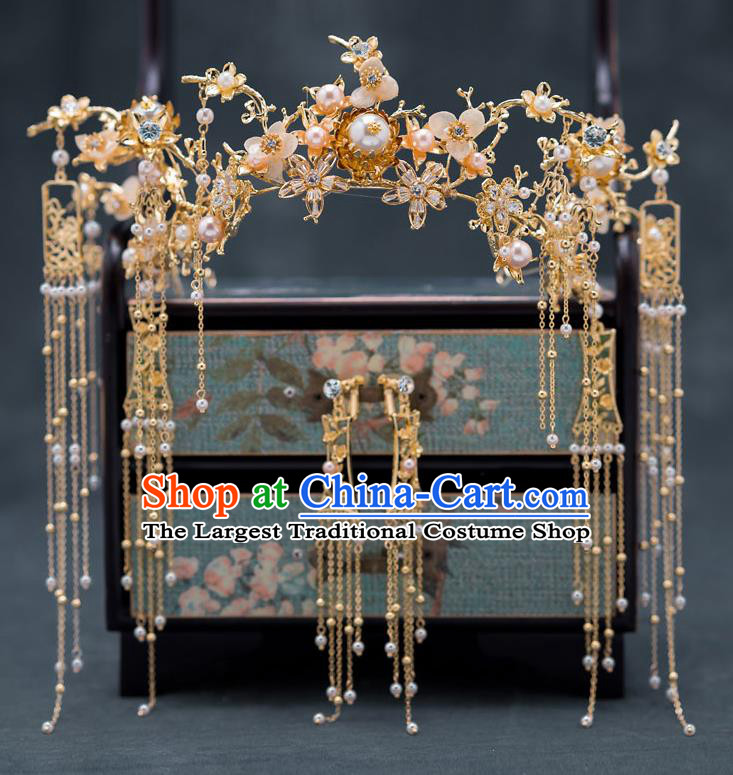 Chinese Ancient Bride Phoenix Coronet Traditional Wedding Hair Accessories Hanfu Hairpins Complete Set for Women