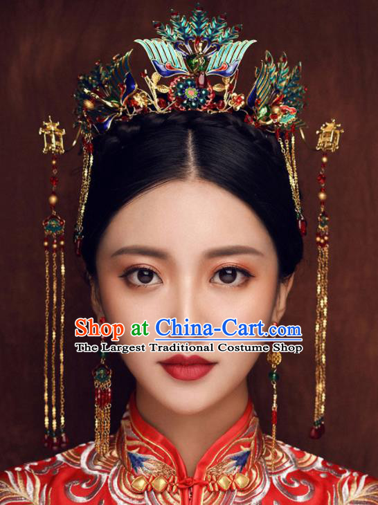 Chinese Ancient Queen Cloisonne Phoenix Coronet Traditional Wedding Hair Accessories Hairpins for Women
