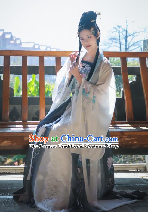 Traditional Chinese Tang Dynasty Replica Costumes Ancient Imperial Consort Embroidered Hanfu Dress for Women