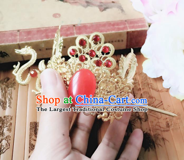 Chinese Ancient Prince Hair Accessories Palace Traditional Hanfu Dragon Hair Crown Hairpins for Men