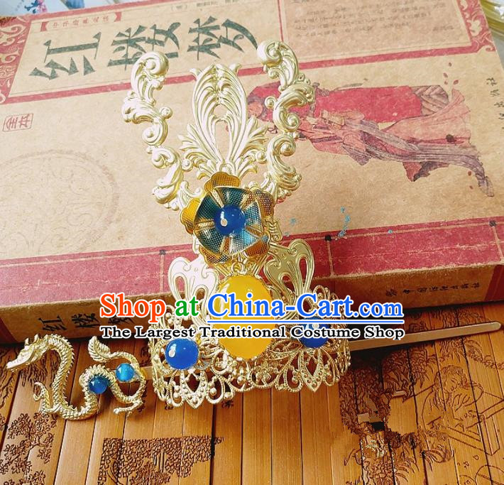 Chinese Ancient Nobility Childe Hair Accessories Traditional Hanfu Dragon Hair Crown Hairpins for Men