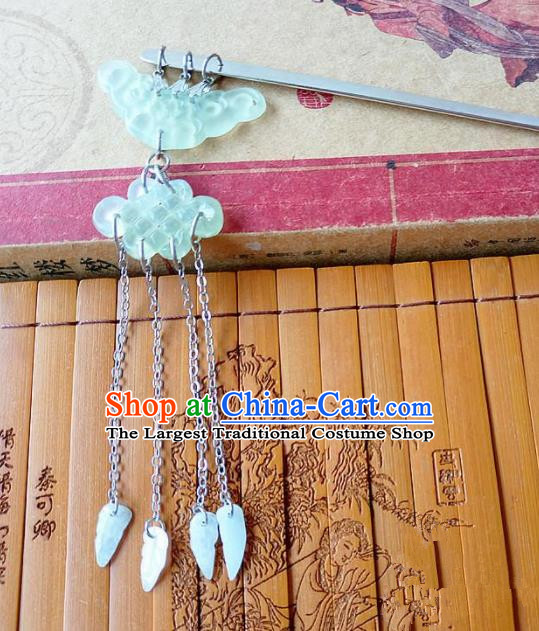 Chinese Ancient Princess Hair Accessories Traditional Hanfu Jade Cloud Hairpins for Women