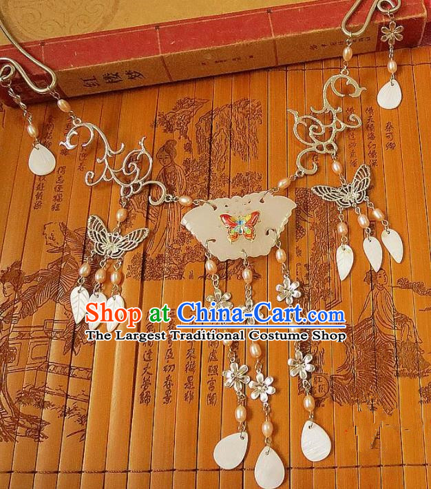 Chinese Ancient Princess Jewelry Accessories Traditional Hanfu Jade Butterfly Necklace for Women