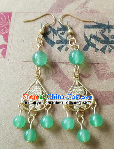 Chinese Ancient Princess Jewelry Accessories Traditional Hanfu Green Beads Earrings for Women